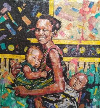Medium: Recycled Plastics and Tin Cans<br>Size: 120cm X 120cm<br>Price: R45,000.00