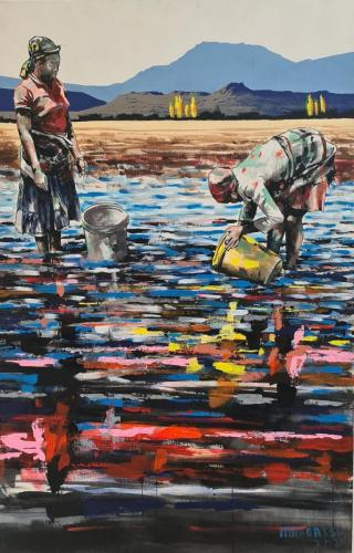 Medium: Acrylic Paint<br>SIZE: 80cm X 120cm<br>Price: R17,900.00