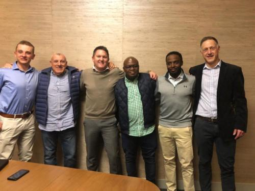 PAPE principals, Zuko & Justin, after signing the sale and shareholder agreements for PAPE Fund 3's investment into Angelo Kater (AK). In the photo are the two key owners of AK, Vusi & Kushi as well as BDO's Guy & Stephan (transaction advisors)